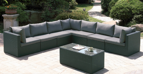 Fenpo Lizkona 8-PC Wicker Patio Sectional Outdoor Lounge Set
