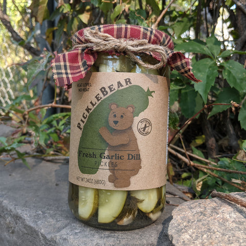 Fresh Garlic Dill 24oz - Non Spicy Homestyle Dill Pickle Spears - PickleBear - Colorado Pickles