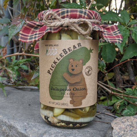 Jalapeno Onion 24oz - Mild/Medium Spiced Pickle Spears - PickleBear - Colorado Pickles