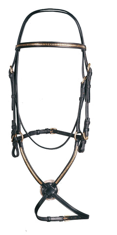 Pariani Clincher Brass Mexican Bridle with no slip reins
