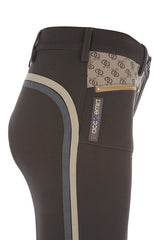 Accademia Italiana Bold Limited Grip Breeches Cacao side view with pocket logo and stripe detail