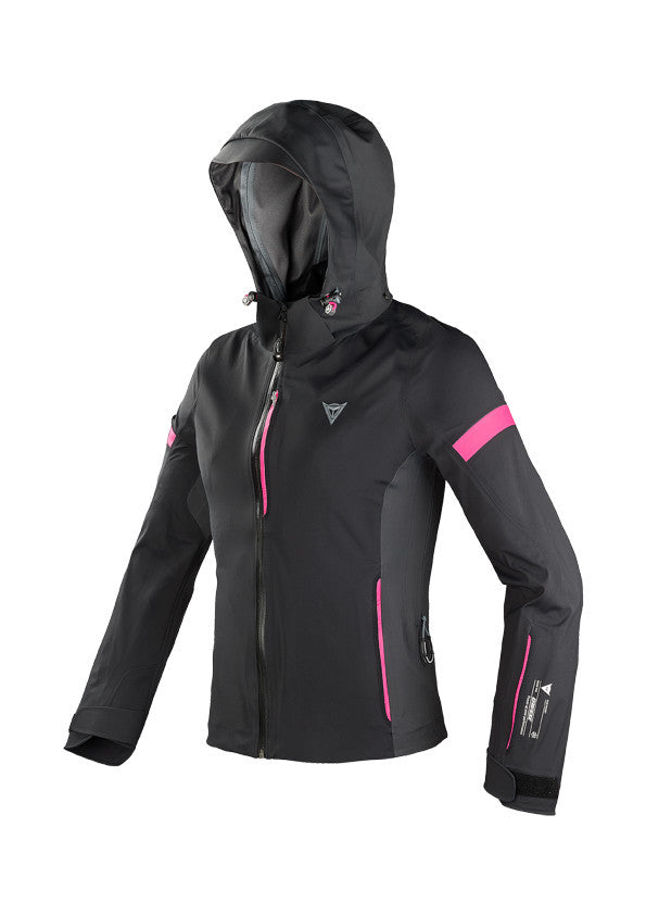 front view Dainese Ladies X-Flight D-Dry Jacket Black anthracite fuchsia accent arkaequipe.com