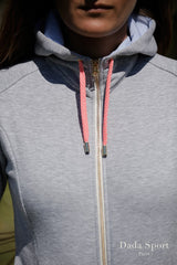 Dada Sport Cornet Hoody Sweater Grey zip and coral cord detail