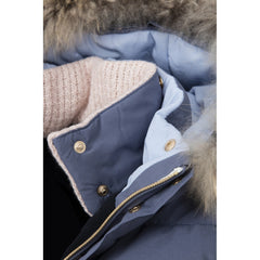 Dada Sport Quismy Down Jacket NEW Blue Grey collar hood detail