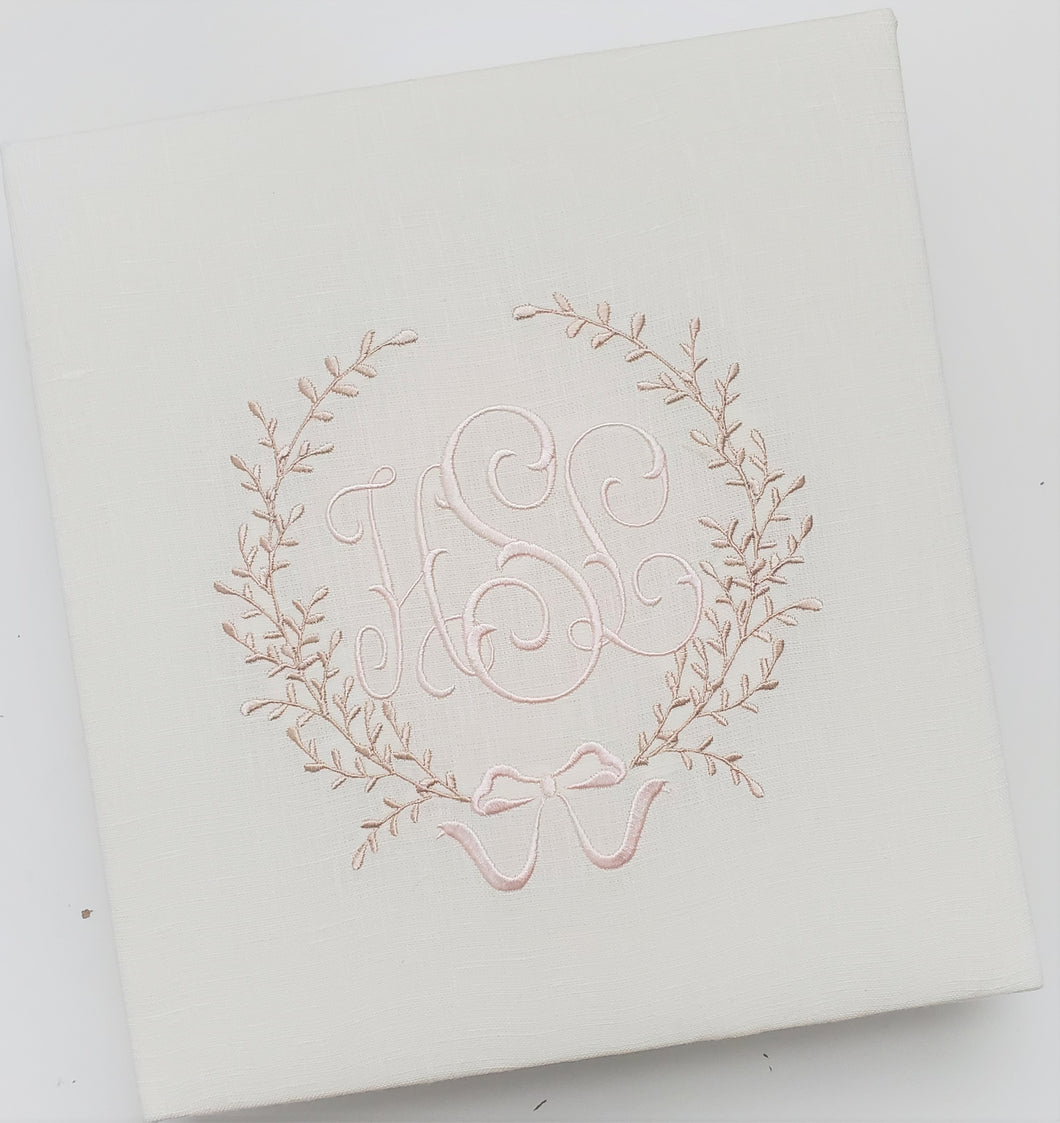 Baby Book with Accent Design - Ivory Linen with Delicate Font and Accent 3 using Antique Lace and Whisper Pink Thread