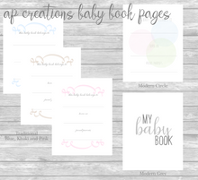 Load image into Gallery viewer, Baby Book with Accent Design - Ivory Linen with Delicate Font and Accent 3 using Antique Lace and Whisper Pink Thread