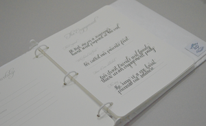 Wedding Memory Book - Ivory Silk with Fancy Font in Crystal Cream Thread