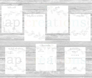 Modern Gray DIY Printable Pages