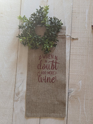 Burlap Wine Gift Bag