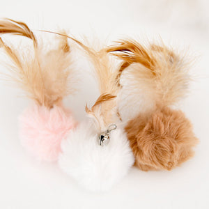 Fluffy ball with natural feathers, 3 soft colors