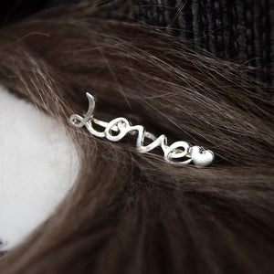 Silverplated double finger ring, LOVE