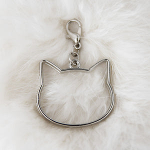 Pendant with clasp, Antique silver CAT HEAD