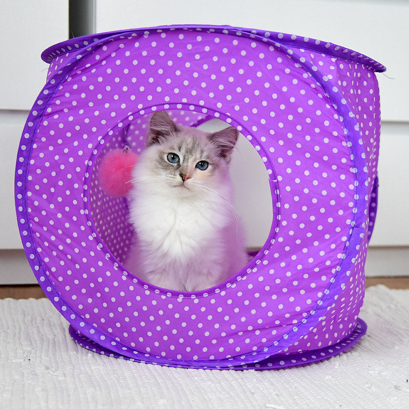 Polka dot cat tent with my Fur ball toy as add on