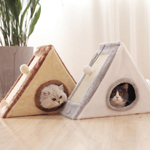 Cat House with scratch board, pyramid.