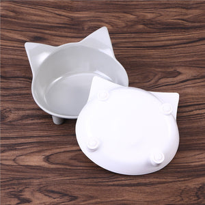 2Pcs Cat food bowls, melamine (Grey and White)