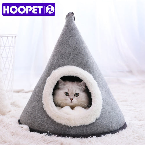 Cozy cat bed, gray pyramid