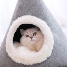 Load image into Gallery viewer, Cozy cat bed, gray pyramid