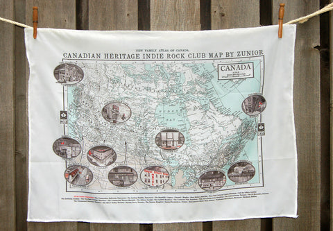 Martin Tielli - Canadian Heritage Indie Rock Club Map (Silk Flag) - Free Shipping
