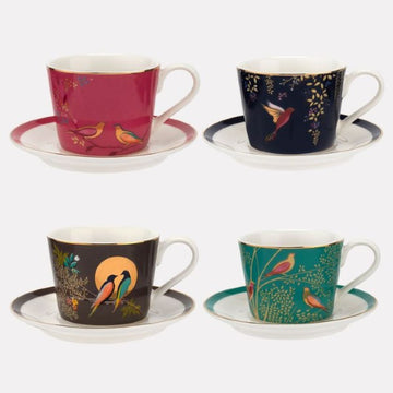 Sara Miller Ceramic Espresso Cup & Saucer Set of 4