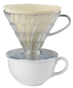 Hario V60 01 Plastic Dripper Clear with filter over cup