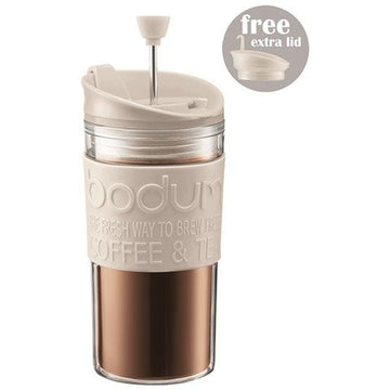 Bodum Travel Mug Cafetiere Press Set K11102-913 - Off White