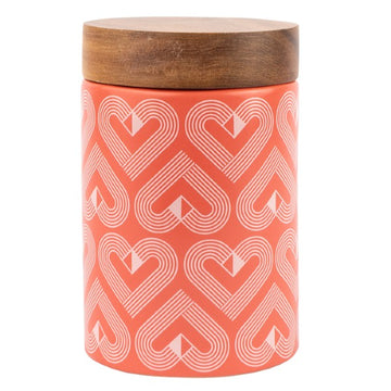 Beau & Elliot VIBE Medium Canister with Acacia Wood Seal Tight lid Coral