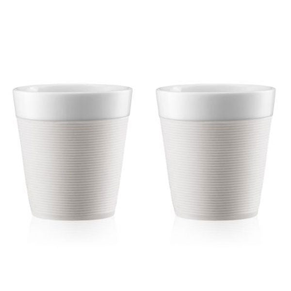 Bodum Set of 2 Mugs with Silicone Sleeve 0.3l - White - 11582-913