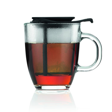 Bodum YO-YO Glass Mug with Tea Strainer (0.35 L/12 oz) - Black