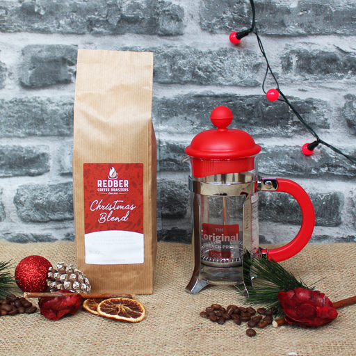 Cafetiere and Christmas Coffee Starter Kit - Red