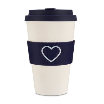 Ecoffee Cup Reusable Bamboo Travel Cup 0.4l / 14 oz. - Dark Blue