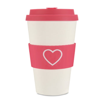 Ecoffee Cup Reusable Bamboo Travel Cup 0.4l / 14 oz. - Hot Pink