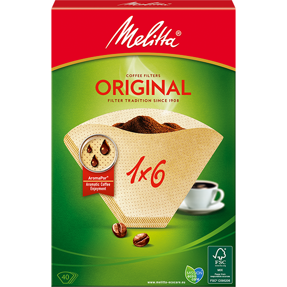 Melitta Original Coffee Paper Filters (Size 1x6 - 40 Pack)