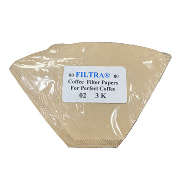 Filtra Paper Coffee Filters 02 3K, Size 2-3 Cups Brown, 80pcs