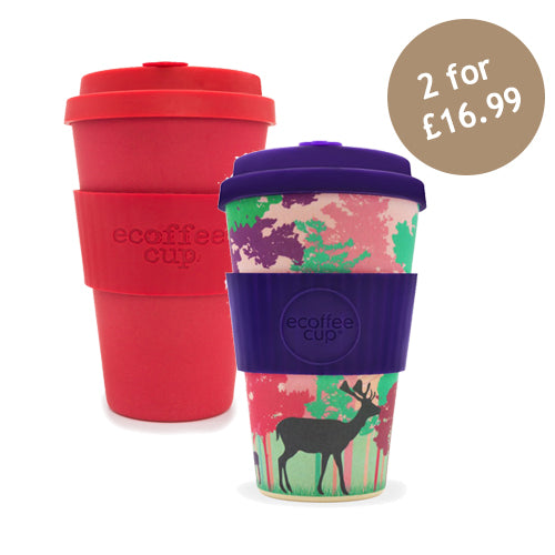 Ecoffee Cup Reusable Bamboo Travel Cup 0.4l / 14 oz. - Red Dawn & Frankly My Deer