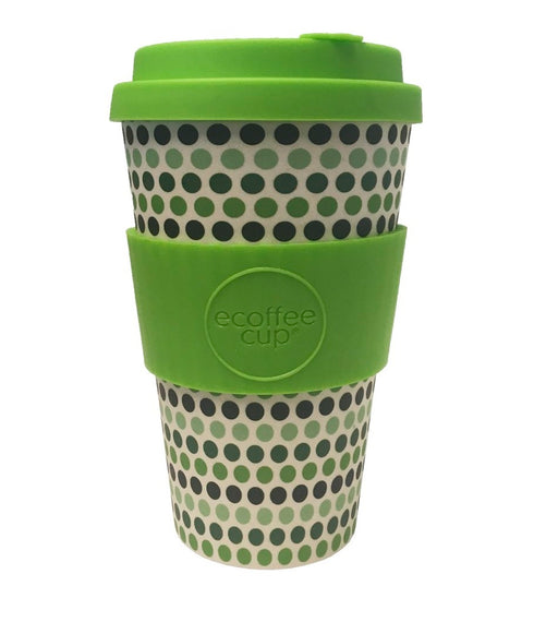 Ecoffee Cup Reusable Bamboo Travel Cup 0.4l / 14 oz. - Green Polka