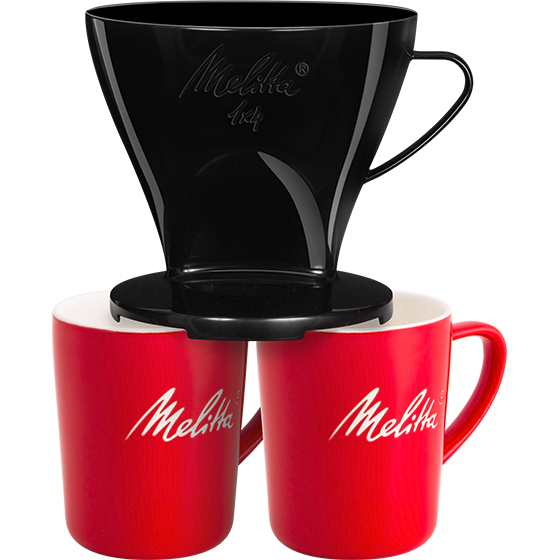 Melitta Set Filtercone 1x4 (4 Cup) Coffee Dripper Black, 2 Porcelain Mugs & Filters