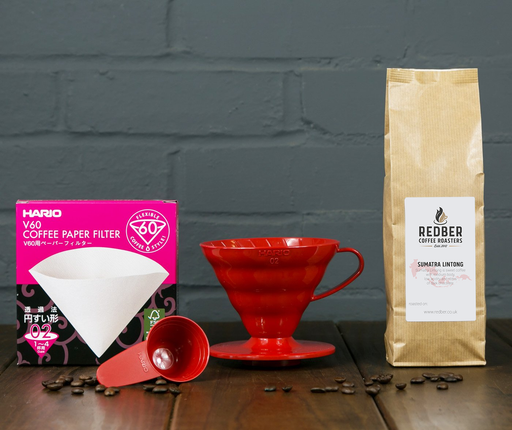 Hario Red V60 02 (2 Cups) Coffee Starter Kit