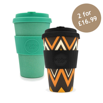 Ecoffee Cup Reusable Bamboo Travel Cup 0.4l / 14 oz. - Zig Zag & Inca