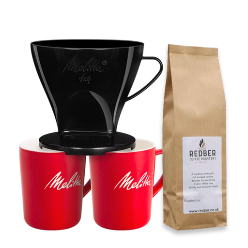 Melitta 4 Cup Coffee Dripper Black, 2 Porcelain Mugs with FREE Coffee