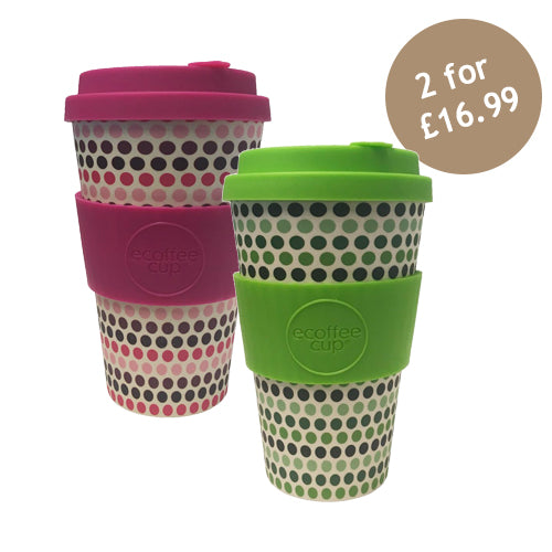 Ecoffee Cup Reusable Bamboo Travel Cup 0.4l / 14 oz. - Pink Polka & Green Polka