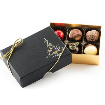 Whitakers Black Christmas Tree Chocolate Truffles Gift Box (6 Truffles)
