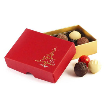 Whitakers Red Christmas Tree Chocolate Truffles Gift Box (6 Truffles)