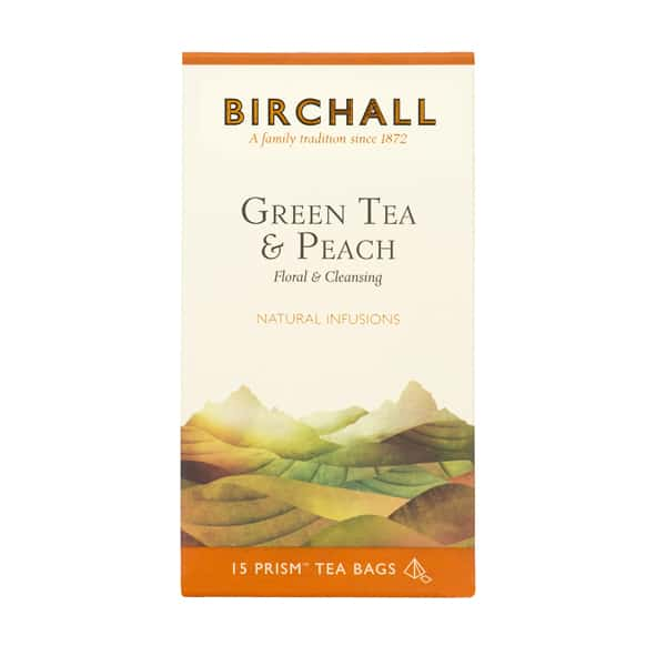Birchall Tea in Prism Bags 15pcs - Green Tea & Peach