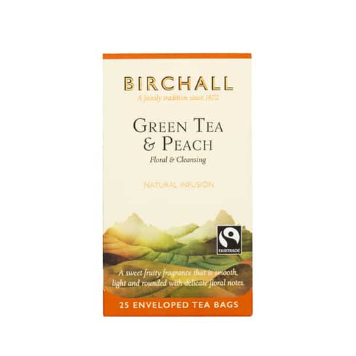 Birchall Tea in Enveloped Bags 25pcs - Green Tea & Peach