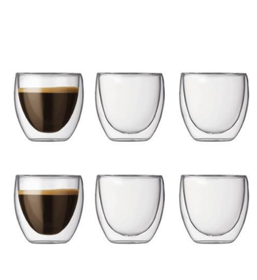 Bodum Pavina Double Wall Glasses, 0.25L, Set of 6