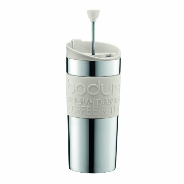 Bodum Stainless Steel Travel Mug Cafetiere Press Set 0.35L - Off White
