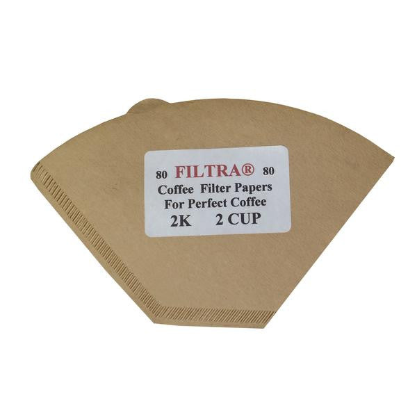 Filtra Paper Coffee Filters Size 2 Cups, Brown, 80pcs