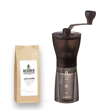 Hario MINI-Slim Plus Ceramic Burr Coffee Grinder with Free Coffee