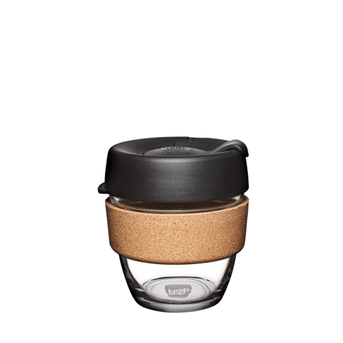 KeepCup Brew Cork Glass Reusable Coffee Cup 8oz - Black