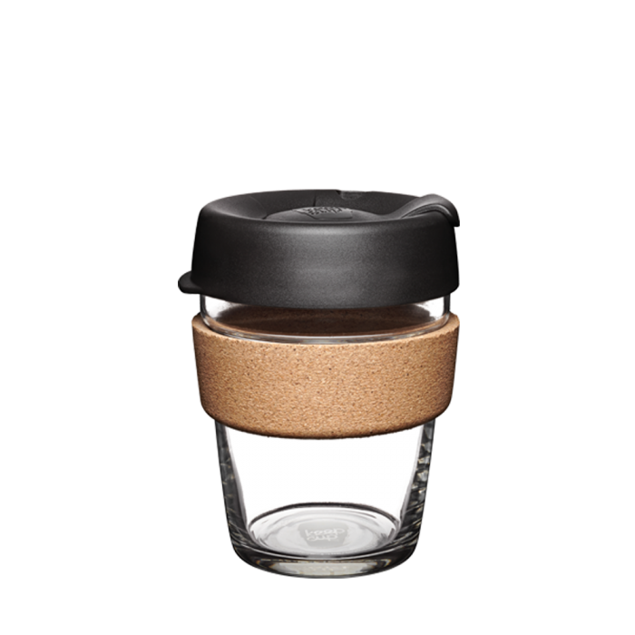 KeepCup Brew Cork Glass Reusable Coffee Cup 12oz - Black